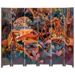 Laquered Room Divider Double-Sided, Jean Dunand Inspired