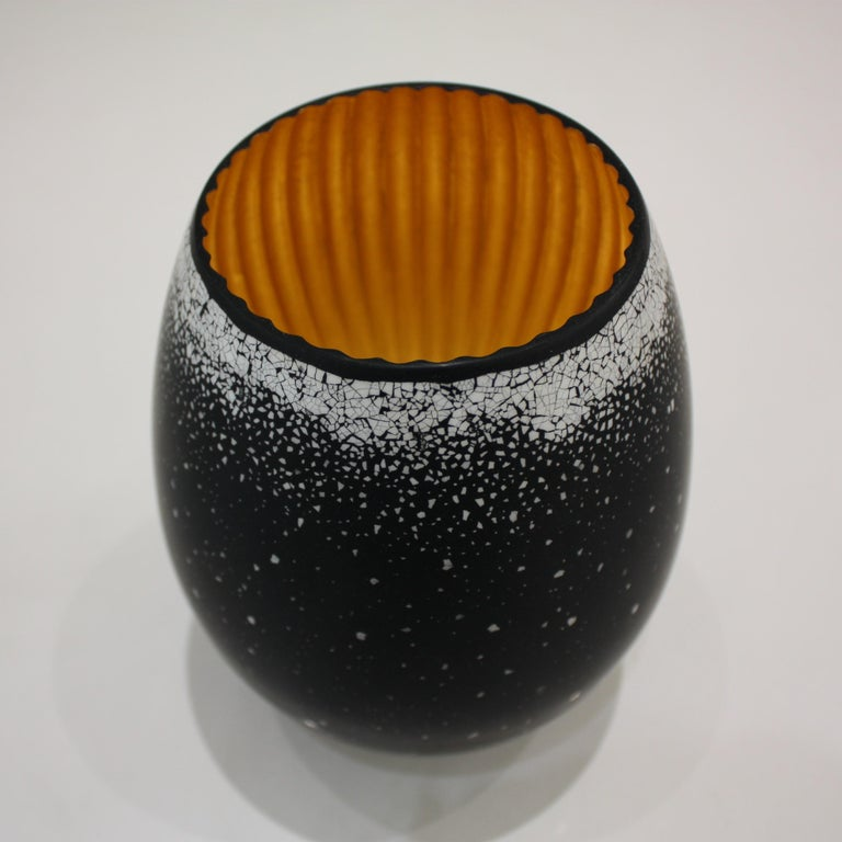 Minimalist Lacquered Wood and Gold Sculpture, Egg Black Hole For Sale
