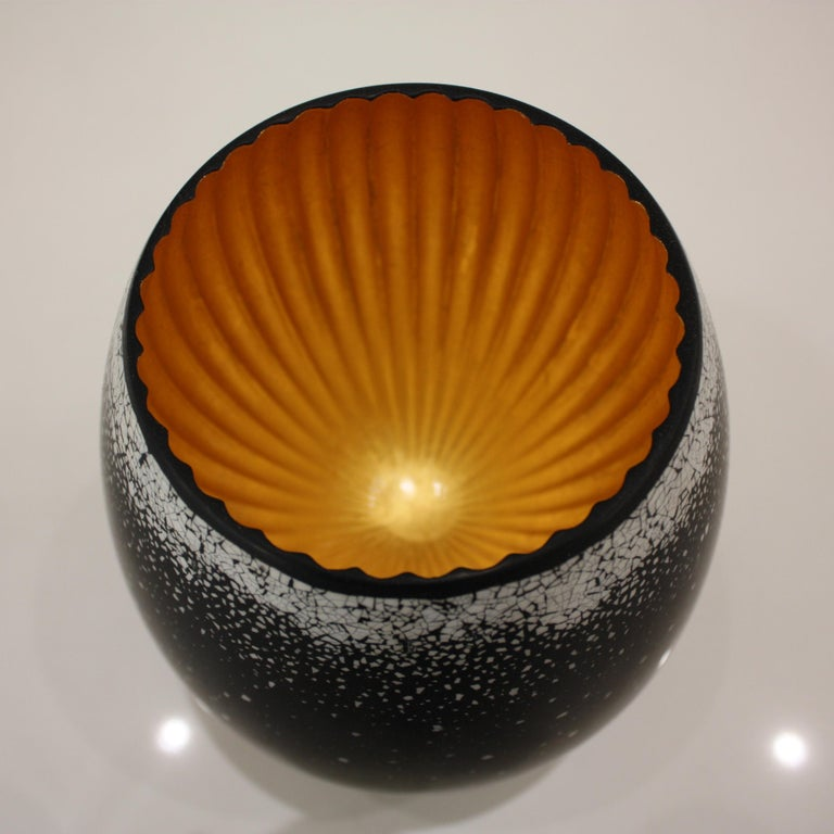 French Lacquered Wood and Gold Sculpture, Egg Black Hole For Sale