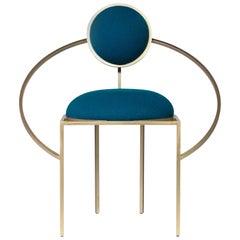 Lara Bohinc, Orbit Chair, Brushed Brass and Blue Wool Fabric