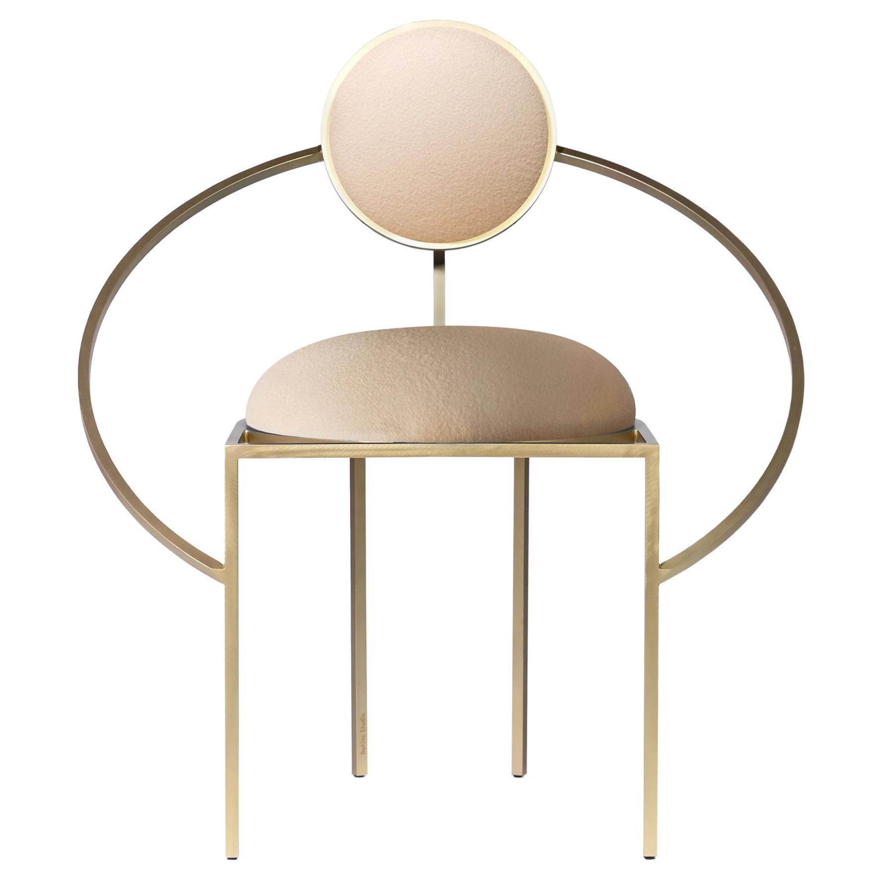 Lara Bohinc, Orbit Chair, Brushed Brass and Cream Wool Fabric