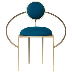 Lara Bohinc, Orbit Chair, Coated Steel and Blue Wool Fabric