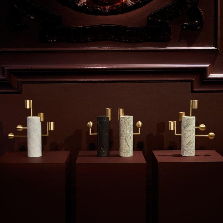 Contemporary Stargazer Candleholder, Carrara Marble and Brass, by Lara Bohinc, In Stock For Sale