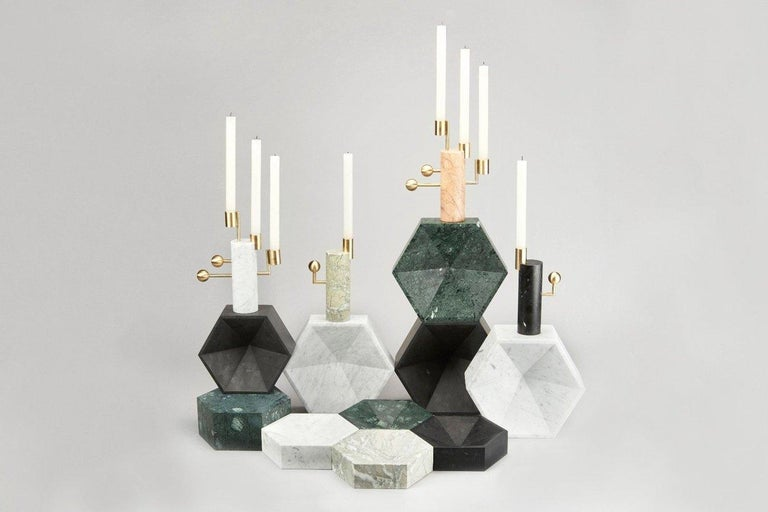 Stargazer Candleholder, Carrara Marble and Brass, by Lara Bohinc, In Stock In New Condition For Sale In London, GB