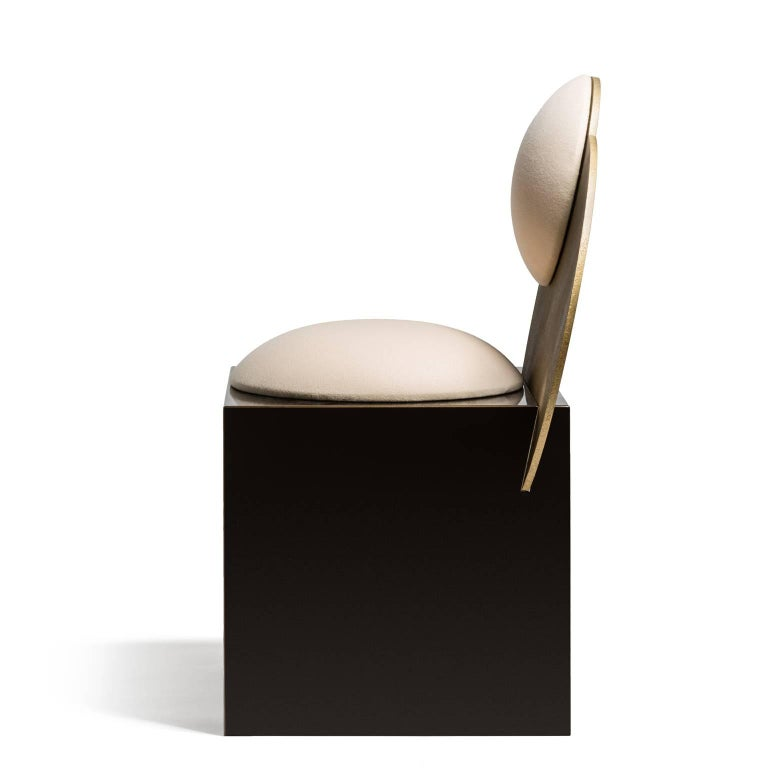 Modern Celeste Chair in White Fabric and Metal, by Lara Bohinc For Sale