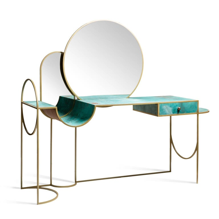 Lara Bohinc draws on her experience in metalwork with the Celeste Console.  This piece has an elegant and playful form made from square brass covered steel rod frame, that contrasts with the fresh green of the verdigris patinated copper surface,