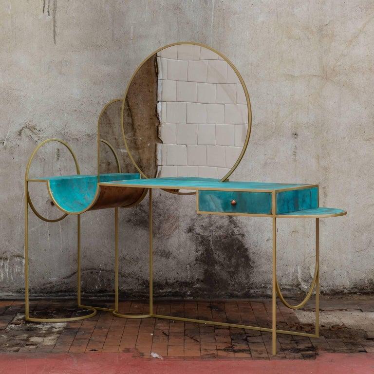 Modern Celeste Vanity Console, Verdigris Copper, Steel Frame and Mirror, Lara Bohinc For Sale