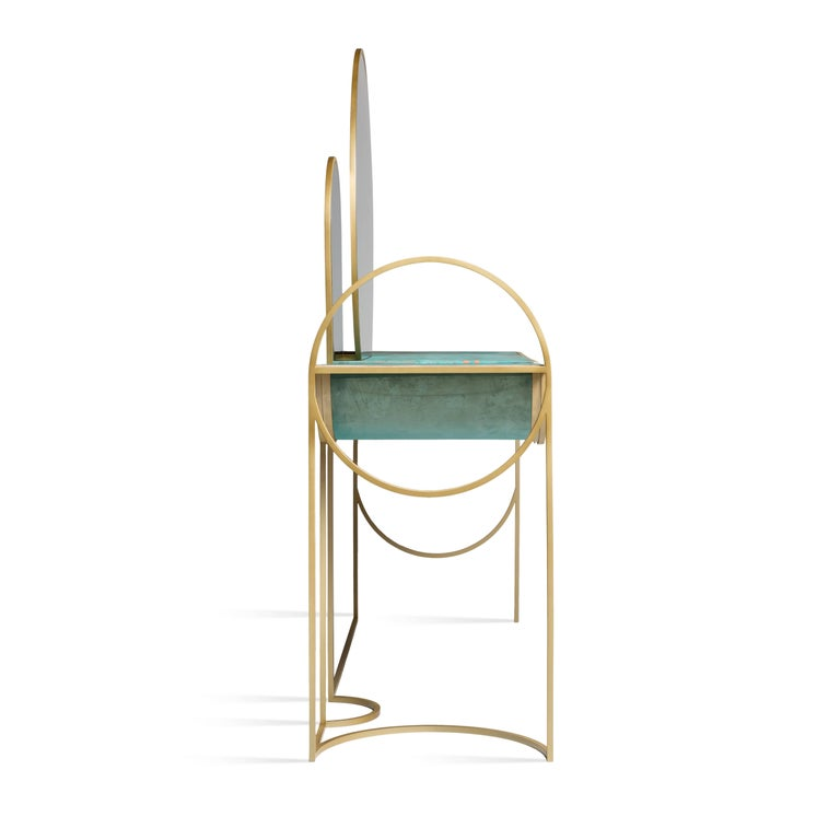 British Celeste Vanity Console, Verdigris Copper, Steel Frame and Mirror, Lara Bohinc For Sale