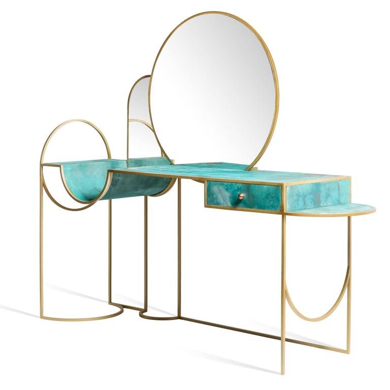 Metalwork Celeste Vanity Console, Verdigris Copper, Steel Frame and Mirror, Lara Bohinc For Sale
