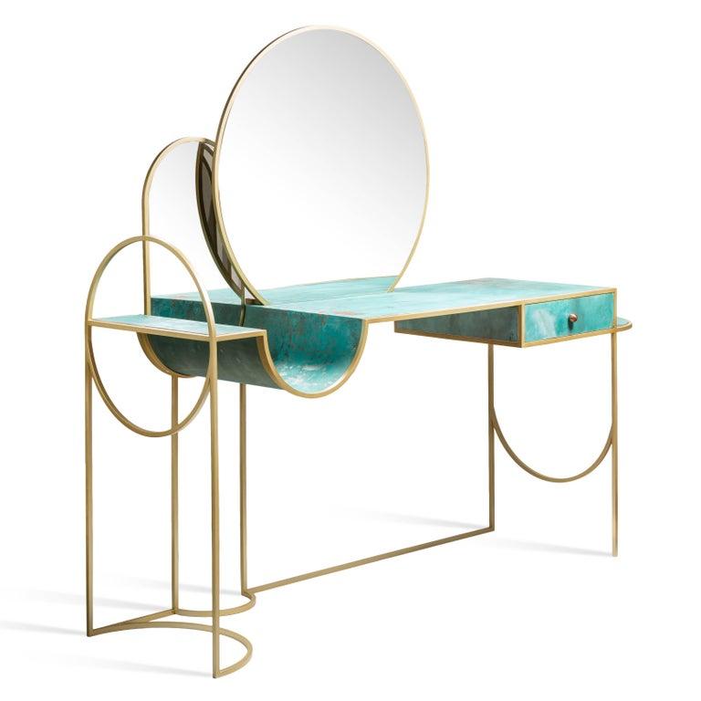 Celeste Vanity Console, Verdigris Copper, Steel Frame and Mirror, Lara Bohinc In New Condition For Sale In London, GB