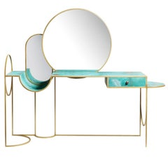 Celeste Vanity Console, Verdigris Copper, Steel and Mirror, Lara Bohinc In Stock