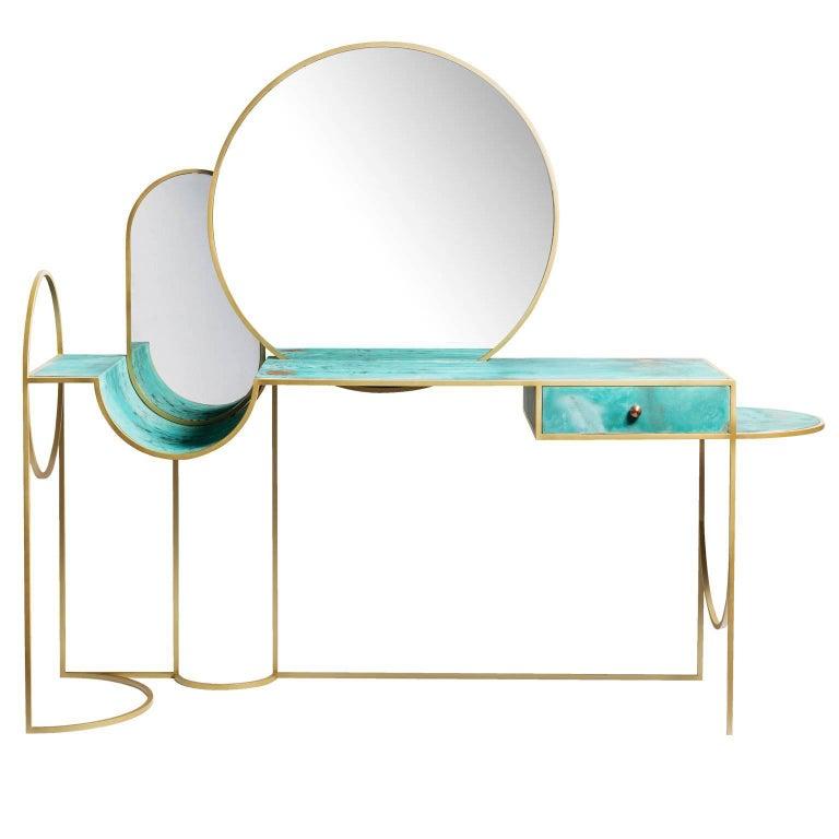 Schmink-Konsolentisch aus Stahl und Kupfer mit Spiegeln von Lara Bohinc 1