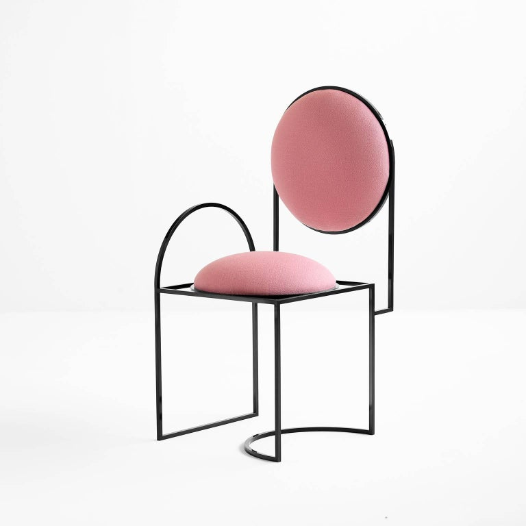 British Solar Chair in Pink Wool and Coated Steel, by Lara Bohinc For Sale