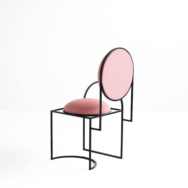 Metalwork Solar Chair in Pink Wool and Coated Steel, by Lara Bohinc For Sale