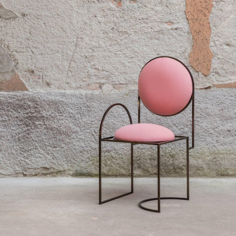 Solar Chair in Pink Wool and Coated Steel, by Lara Bohinc For Sale 1