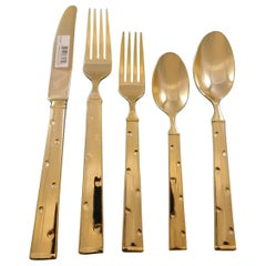 Larabee Dot Gold by Kate Spade Stainless Steel Flatware Set Service 8 New 40 Pc