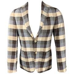LARDINI Cream & Blue Checkered Cotton / Silk Notch Lapel Sport Coat