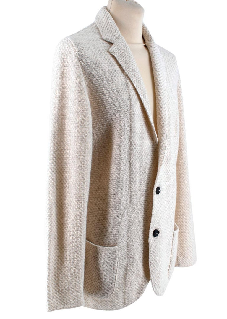 Lardini Ivory Wool & Alpaca Blend Textured Knit Blazer Jacket  - Soft wool and alpaca blend  - Classic single breasted cut  - Textured knit surface  - Pockets to the front  - Neutral ivory hue  - Button fastening to the front  - Easy to style  -