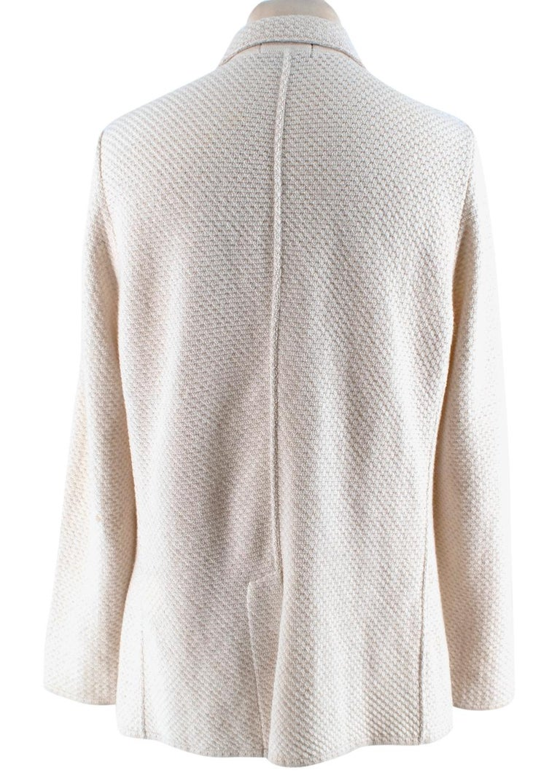 Gray Lardini Ivory Wool & Alpaca Blend Textured Knit Blazer Jacket - Size XL For Sale