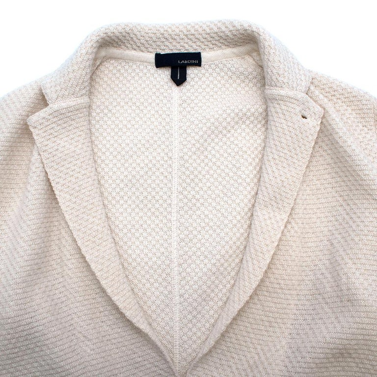 Lardini Ivory Wool & Alpaca Blend Textured Knit Blazer Jacket - Size XL In Excellent Condition For Sale In London, GB