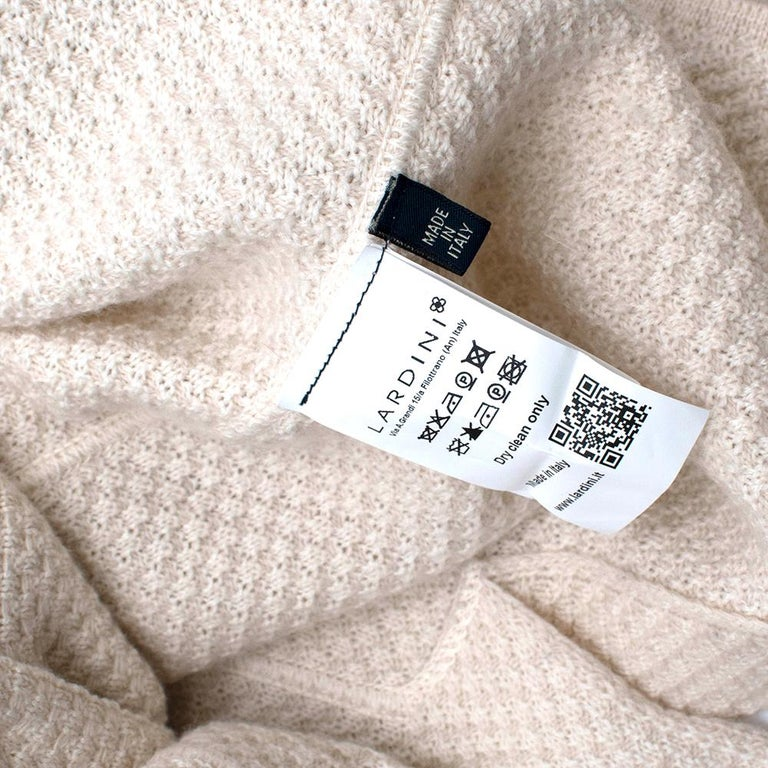 Lardini Ivory Wool & Alpaca Blend Textured Knit Blazer Jacket - Size XL For Sale 3