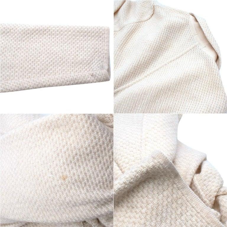 Lardini Ivory Wool & Alpaca Blend Textured Knit Blazer Jacket - Size XL For Sale 4
