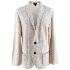 Lardini Ivory Wool & Alpaca Blend Textured Knit Blazer Jacket - Size XL