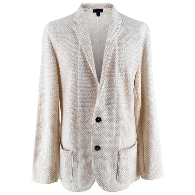 Lardini Ivory Wool & Alpaca Blend Textured Knit Blazer Jacket - Size XL For Sale