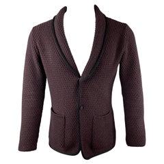 LARDINI Plum Knitted Wool Shawl Collar Chest Size M Sport Coat