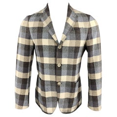 LARDINI Size 34 Beige & Taupe Checkered Plaid Cotton Silk Notch Lapel Blazer