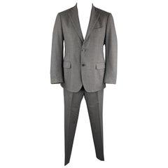 LARDINI Size 42 Dark Gray Wool Blend Notch Lapel Suit