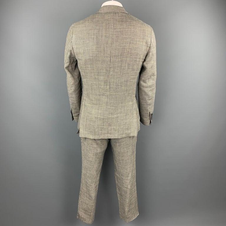 Gray LARDINI Size 42 Regular Black & Beige Houndstooth Silk / Linen Suit For Sale