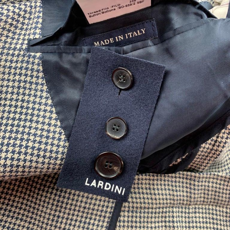 Men's LARDINI Size 42 Regular Black & Beige Houndstooth Silk / Linen Suit For Sale
