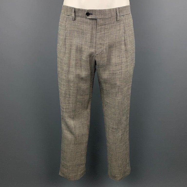 LARDINI Size 42 Regular Black & Beige Houndstooth Silk / Linen Suit For Sale 3