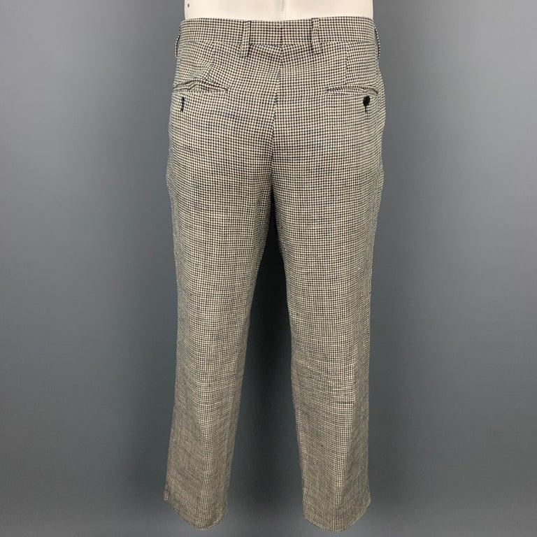 LARDINI Size 42 Regular Black & Beige Houndstooth Silk / Linen Suit For Sale 4