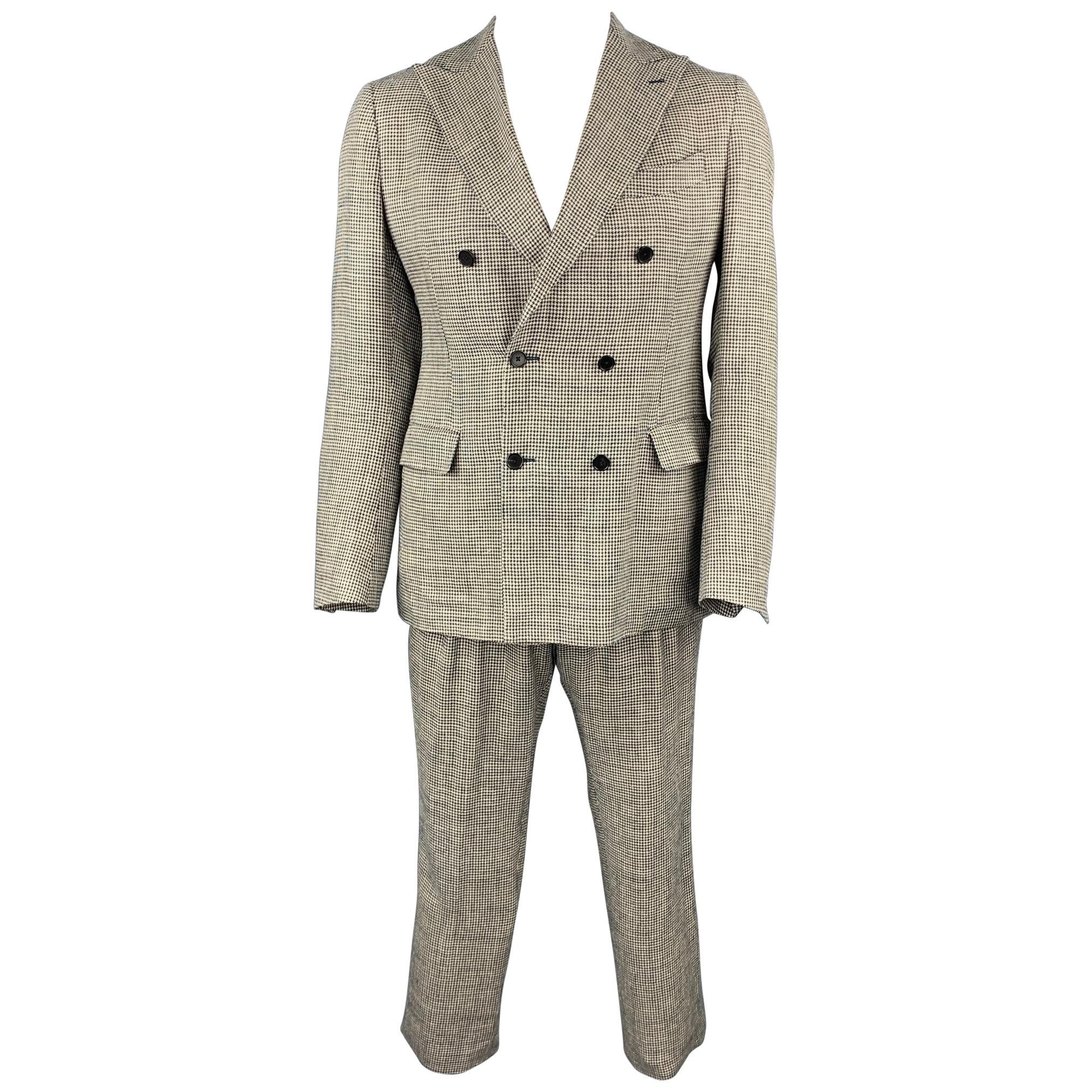 LARDINI Size 42 Regular Black & Beige Houndstooth Silk / Linen Suit