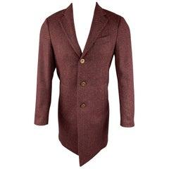 LARDINI Size S Burgundy Heather Wool / Nylon Notch Lapel Coat
