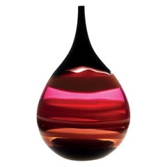 Large 10 Banded Scarlet Red Flat Teardrop Vase, Hand Blown Glass - Available Now