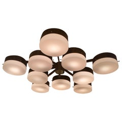 Large Brass 10-Arm Flush Mount Ceiling Light in the Style of Gio Ponti