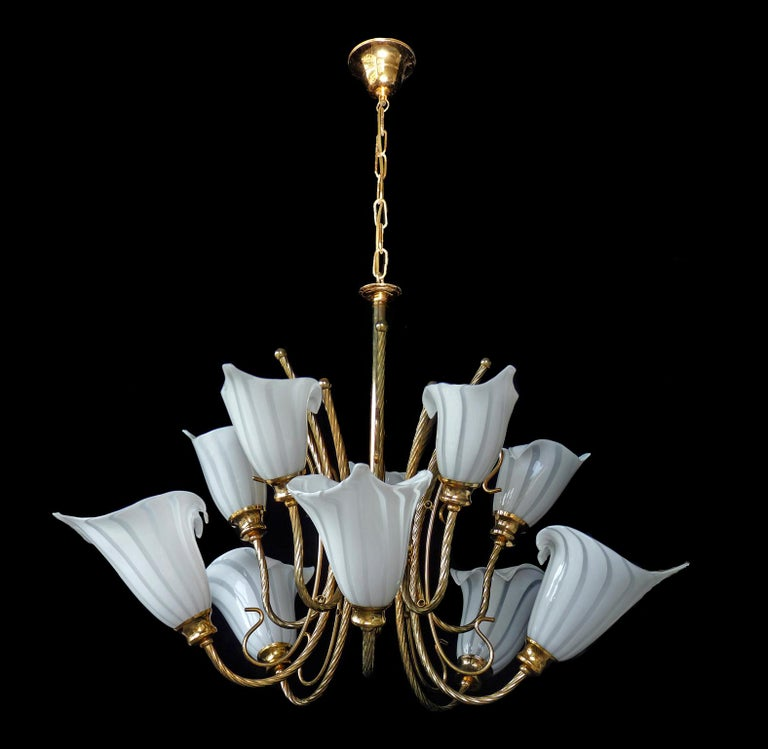 Large 10-Light Murano Calla Lily Chandelier by Franco Luce, Art Glass Gilt Brass 2