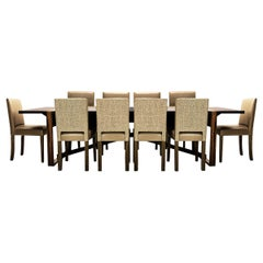 Large 10 Seat Contemporary Dining Set with Bespoke Macassar Table and 10 Chairs