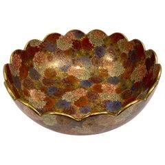 Large 1000 Flowers Occupied Japan Hand-Painted Porcelain Centerpiece Bowl