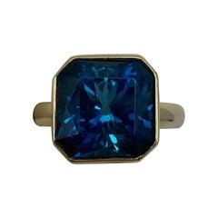 Large 11.93 Carat London Blue Topaz Fancy Square Cut 18 Karat Gold Handmade Ring