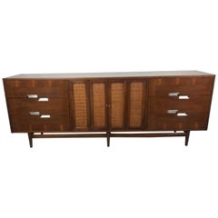 Large 12 Drawer Martinsville Walnut Credenza with Aluminum Accents, 1960s