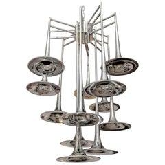 Large 12-Light Mid-Century Modern Chrome Trumpet Chandelier, Reggiani Italy 1970