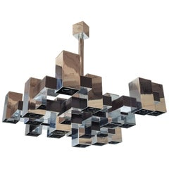 Large 12 Lights Mid-Century Modern Square Shape Chrome Chandelier Sciolari 1960s