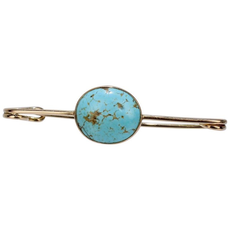 Large 14 Karat Gold and Turquoise Cabachon Brooch or Scarf Pin For Sale