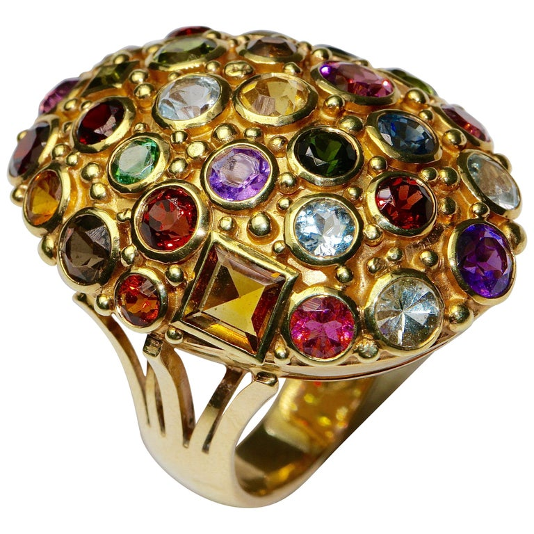 Large 14 Karat Gold Cocktail Ring Set with Aquamarine, Tourmaline, Amethyst For Sale