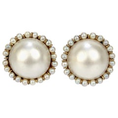 Large 14 Karat Gold, Mabe Pearl, and Round White Pearl Clip-On Earrings