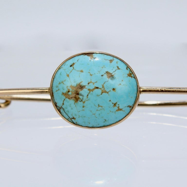 Large 14 Karat Gold and Turquoise Cabachon Brooch or Scarf Pin For Sale 1